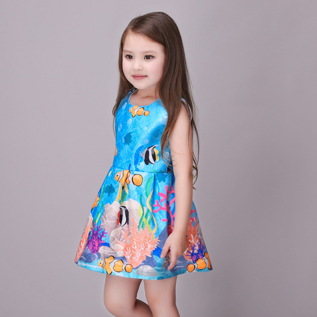 c90bca7449 Baby Girls Dress Underwater World Kids Clothes Children Dress Summer Dresses  Vestidos De Festa roupas infantis menina vestidos