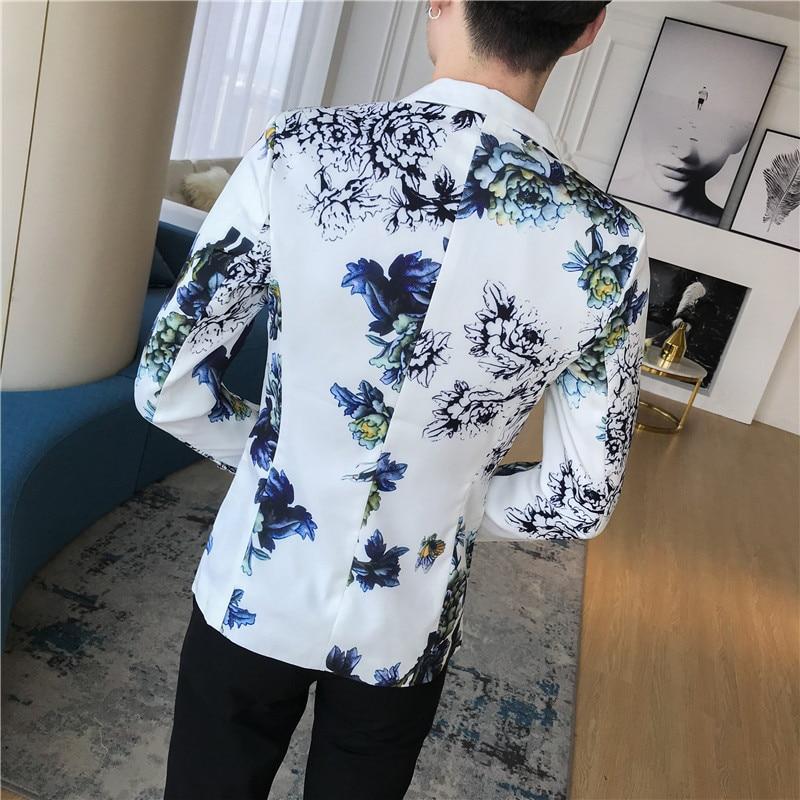 Suits & Blazers Mens Floral Blazer Male Terno Masculino Slim Fit 2018 Autumn Stylish Blazers For Men Blazers Para Hombre One Button Suit Jacket Blazers