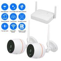 H.265 Mini 2CH NVR Kit 1080P Wireless Outdoor Cam Waterproof Home Security IP Camera Video Intercom PIR Alarm Monitoring System