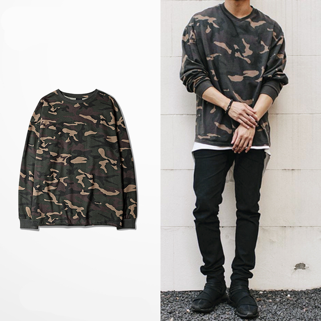 45cdb408 new hip hop swag T shirt clothes high Street urban men long sleeve OVERSIZE t  shirt Kanye West Hipster camo t shirt camouflage