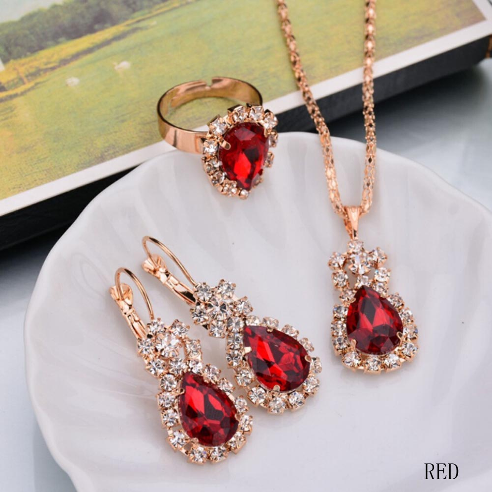 2019 Top Sale Luxury Classical Women Jewelry Set Designer Water drop Necklace/Earring/Ring Set  Bijoux Femme(China)