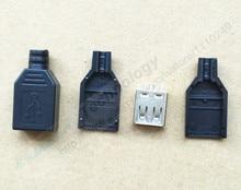 Новый 10 шт. Тип Женский USB 4 Булавки разъем с черной Пластик крышка Лидер продаж