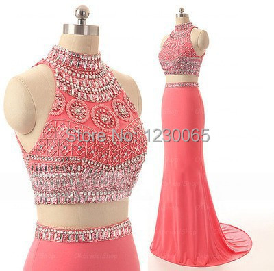 mermaid sexy 2 piece prom fast shipping 2018 popular pretty backless luxury beading vestido de festa noiva   bridesmaid     dresses