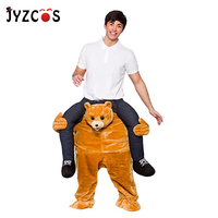 JYZCOS Ride on Teddy Bear Costumes Carry Mascot Costume Adult Purim Halloween Party Cosplay Fancy Dress