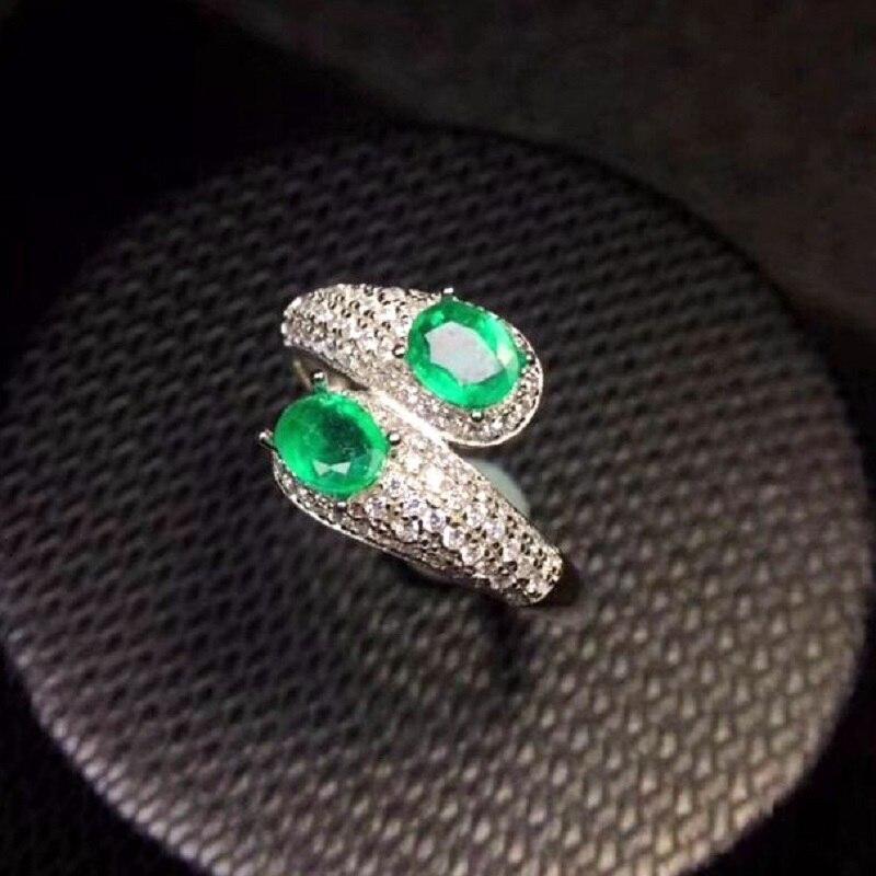 Bague émeraude verte Almei, 2 bagues brutes, bague en argent 925, 4*5mm * 2 pièces certifiées pierres précieuses de mariage bijoux fins pour femmes FJ225