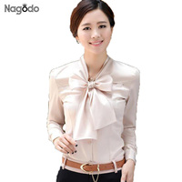 Factory Wholesale Hot Sale Elegant Lady Office Shirts Big Bow Tie Collar Long Sleeved Occupation Blouses
