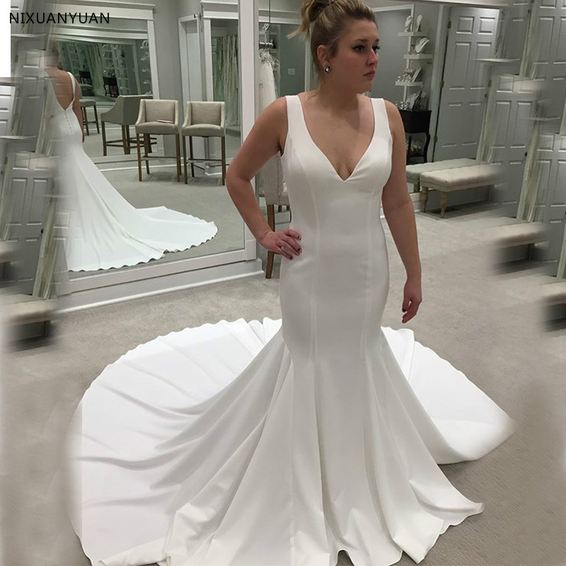 Simple V Neck Sleeveless Satin Wedding Dresses Chapel