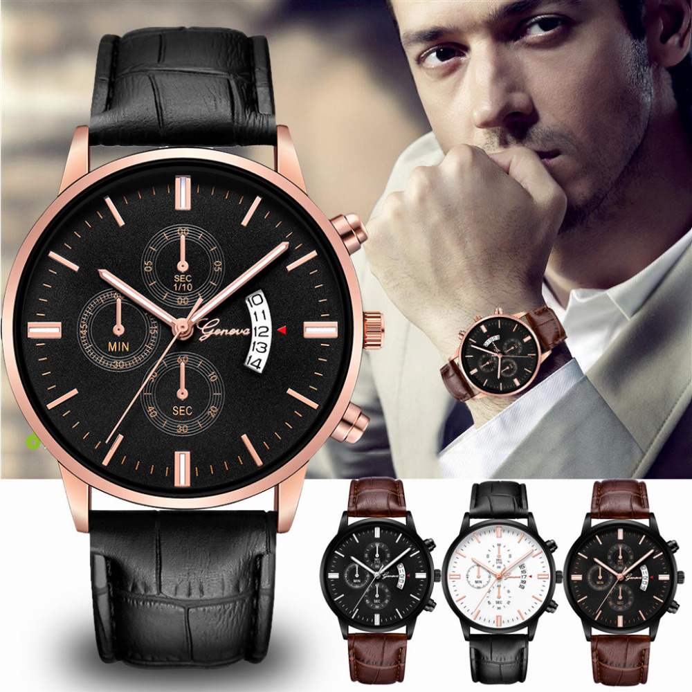 Quartz Watches Simple Fashion Men Alloy Case Pu Synthetic Leather Quartz Watches Casual Sport Watch Men Wrist Watches Wristwatches Clock Lb A Great Variety Of Goods Watches