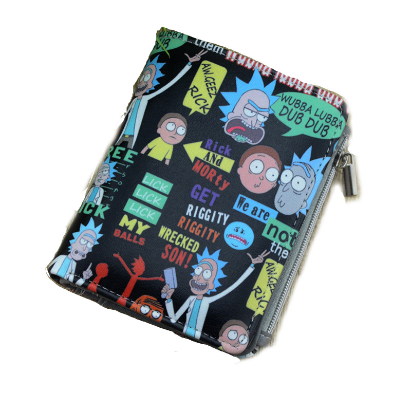 Cartoon Anime Rick and Morty wallet Men Women Boys Girls Short Bi-Fold Button Wallet Coin Holder Black PU Leather coin Purse