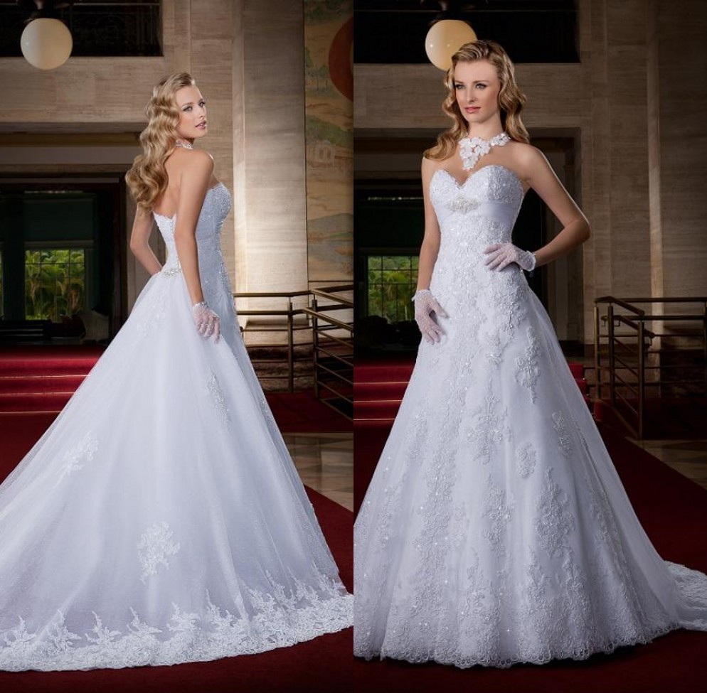 2019 Custom Made Vestido De Noiva  Cauda New Fashion Sweetheart A Line Vintage 2019 Lace Wedding Dresses Organza Bridal Gowns