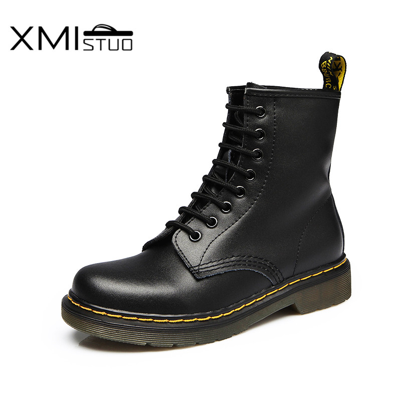 XMISTUO Winter Genuine Leather Women Martin Boots Mujer Botas Warm Boots  Motorcycle Ankle Fashion Couple Boots 7 Color 7246 fashion women ankle boots vintage nubuck chealsa boots motorcycle martin boot winter warm autumn shoes botas mujer