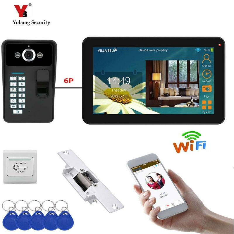 APPコントロール9インチモニターWifiワイヤレスビデオドア電話ドアベルインターホン指紋パスワードRIFDカードカメラKITドアモニター付きワイヤレス