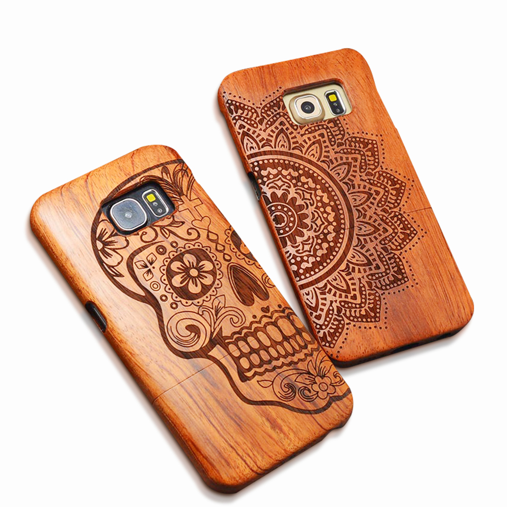 Natural Wood Case For iPhone X 8 7 6 6s Plus SE 5s Samsung Galaxy S6 S7 edge S8 S9 Plus Note 8 7 5 Genuine Carving Wooden Cover