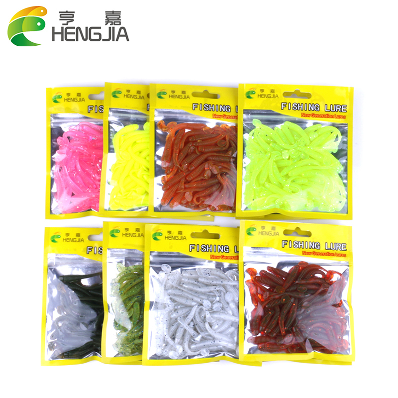 Hengjia 50pcs/pack Fishing Lure Soft Bait 50mm/0.6g T Tail soft Fish SwimBait soft plastic worm bait Soft Lures Artificial Lures
