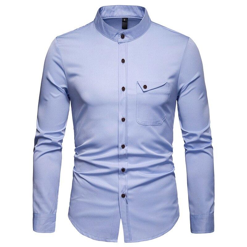 Image 5 - Mens Solid Mandarin Collar Shirt 2019 Casual Slim Fit Wine Red Dress Shirts For Men Plus Size Woke Tops Camisas Social MasculinaCasual Shirts   -