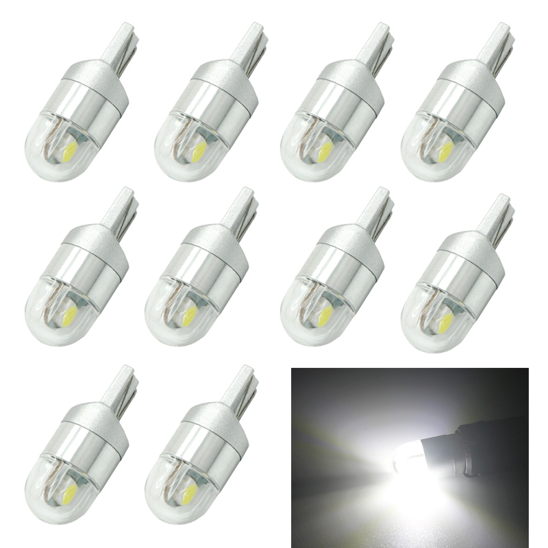 10pcs T10 3030 2SMD LED W5W Car Bulbs Instrument Lights 168 194 Turn Signal Clearance Lights License Plate Light Trunk Lamp 4pcs super bright t10 w5w 194 168 2825 6 smd 3030 white led canbus error free bulbs for car license plate lights white 12v