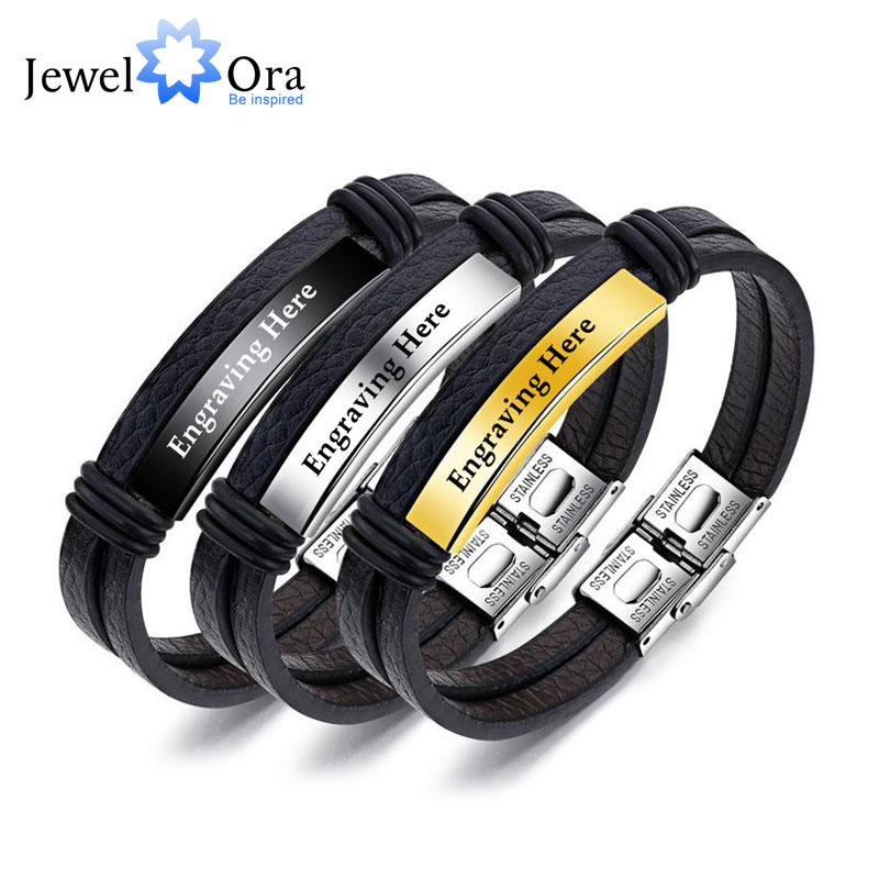 Personalized Engraved Name Bar Bracelet For Men Jewelry Stainless Steel ID Bracelets & Bangles Accessories (JewelOra BA102255)