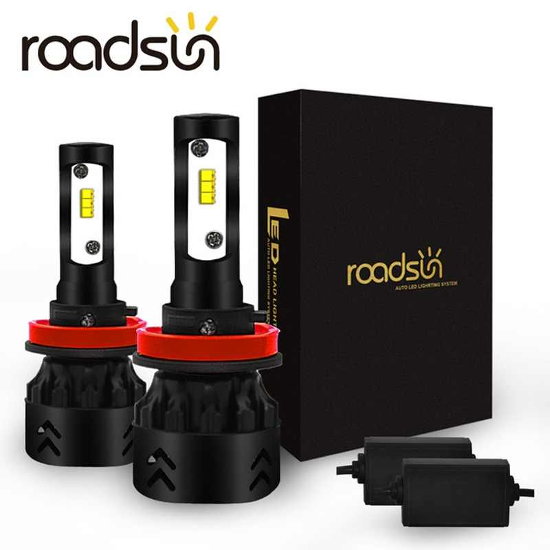 Roadsun Auto Spot Lights Led H4 H11 Luxeon H1 9005 9006 HB3 HB4 LED Headlights Bulb H7 Lumileds ZES Chips 12V 6000K Car Lamp