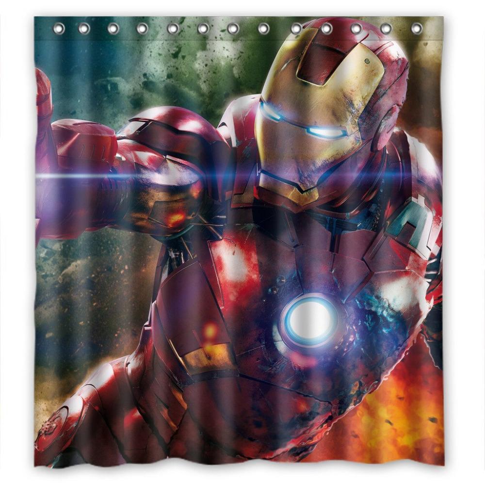color cool iron man image personnalise 180x180 cm grande taille moldproof tanche polyester rideau de douche - Rideau De Douche Color