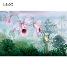 Laeacco Watercolor Flowers Tropical Palm Tree Shrub Wallpaper Photography Backdrops Photo Background Photocall Studio