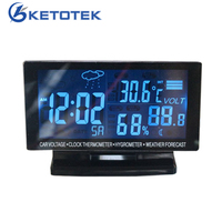 1pcs Fashionable 4 In 1 Car Voltage Digital Monitor LCD Thermometer Car Voltmeter Clock Voltage Alarm