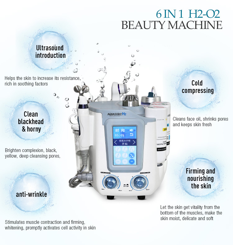 Hydro Facial Machine 6 In 1 Hydra Dermabrasion Machine Face Cleanser Multifunctional Facial Spa Device Skin Care Beauty Machine