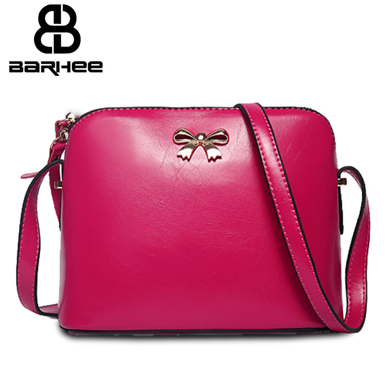 3202154e874 US $13.1 43% OFF|BARHEE Design Bow Shoulder Bags Candy Color Crossbody Bags  for Girls Split leather Sale Women Small Shell Messenger Bags Pink-in ...