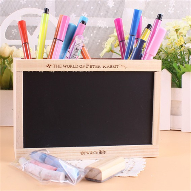 Double lattice wooden pen holder with blackboard kawaii desk tidy double lattice wooden pen holder with blackboard kawaii desk tidy pencil holder desktop pen pot creative gumiabroncs Image collections