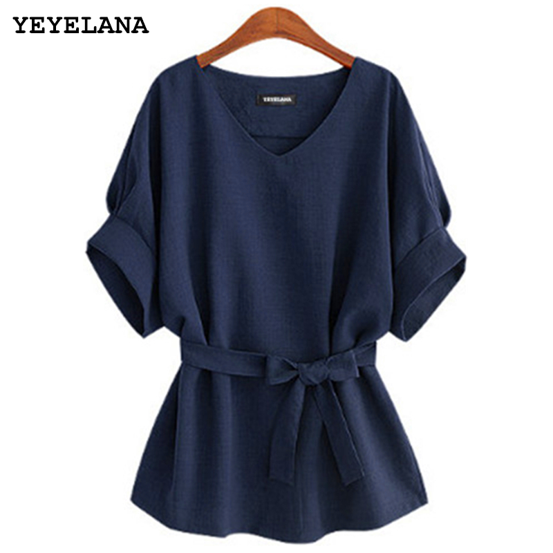 YEYELANA 2019 Summer Women Blouses Tunic Shirt V Neck Big Bow Batwing Tie Loose Ladies Blouse Female Top For Tops A073