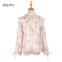 Qlychee Spring Autumn Vintage Women S Floral Print Peter Pan Collar Ruffle Blouse Top Shirt Loose