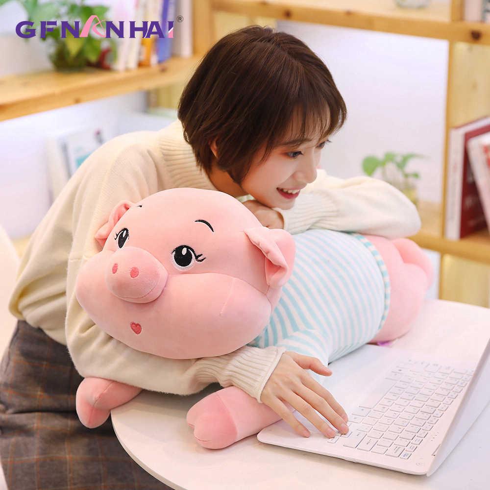 1 adet 32/40 CM Süper Sevimli Domuz peluş oyuncak Güzel Hayvan Tembel Uyku Domuz Yastık Dolması Oyuncaklar Çocuk Çocuk doğum günü Hediyeleri