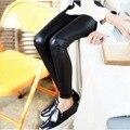 2016 Meninas Novas Primavera & Verão Leggings Crianças Leggings de Algodão Crianças Calças Casuais de Alta Qualidade de Couro Marca de Moda, LC143