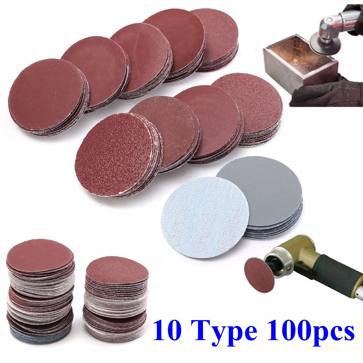 100pcs Sanding Disc 2inch 50mm Sandpaper 80 100 180 240 600 800 1000 1200 2000 3000Grit Polishing Discs Mixed Sandpaper Set
