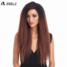 Noble Synthetic Lace Front Wig Long Kinky Straight Baby Hair 26 Inch Wigs For Black Women 0mbre wig Lace Front Synthetic Wigs стоимость