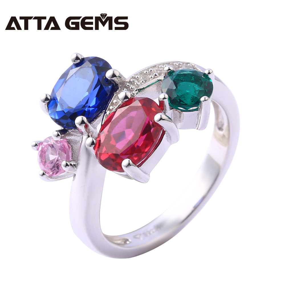Sapphire Ruby Sterling Silver Rings for Women Wedding Engagement 4.8 Carats Created Sapphire Ruby Romantic Bright Style red ruby sterling silver women wedding band silver ring 2 1 carats created ruby gemstone engagement romantic style rings