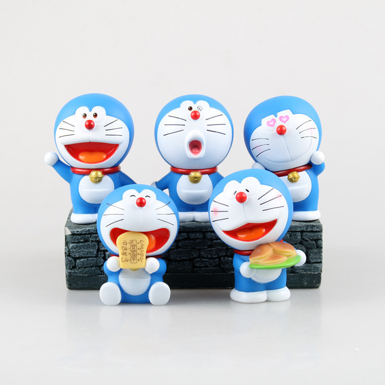 Genuine Anime Cartoon STAND BY ME Expression Doraemon Mini PVC Action Figure Toys Dolls Child Toys Gifts 5pcs/set Free Shipping