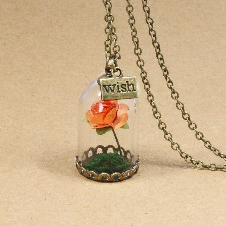 HTB14ZJBQFXXXXXEXpXXq6xXFXXXP - 1PC jewelry Beauty and the Beast Necklace Wish Rose Flower in Glasses Pendant Necklace PTC 198