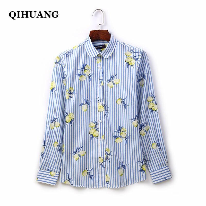 QIHUANG Long Sleeve Women Shirt 2019 Fashion Striped Printed Women Blouses Cotton Turn Down Collar Plus Size Women Tops Clothes