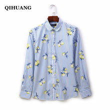 QIHUANG Long Sleeve Women Shirt 2019 Fashion Striped Printed Women Blouses Cotton Turn Down Collar Plus Size Women Tops Clothes(China)