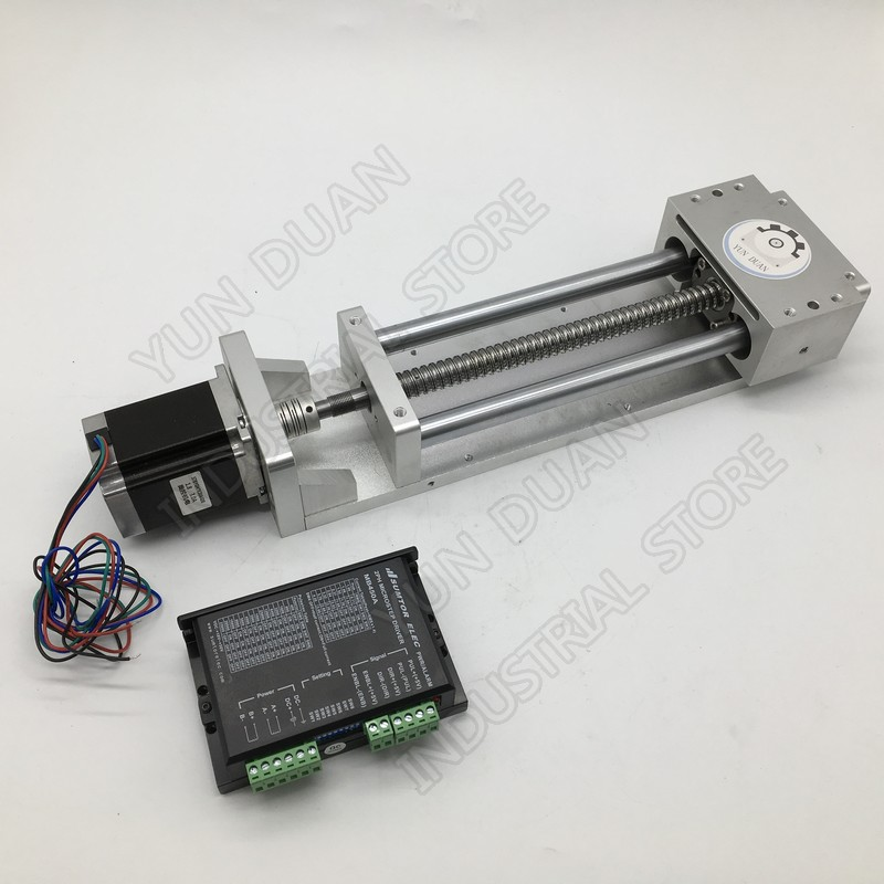 600MM Stroke Sliding Table & NEMA23 Stepper Motor & Driver & Coupling Kits Linear Module Slide Linear Stage BallScrew Router CNC