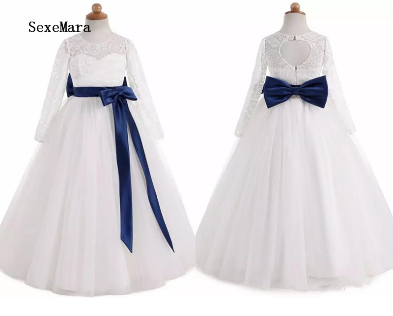 Real Pictures Beautiful Flower Girls Dresses Ball Gown Tulle with Ribbon Keyhole Back Girls First Communion Dress Birthday Gown pleated panel keyhole back dress