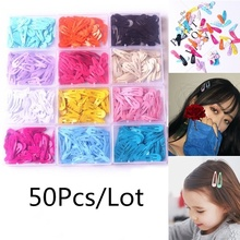50Pcs/Lot Hair Accessories Candy Drop Clip Princess Barrette Korean Fashion New Solid Hairclip Headdress Hairpins for Girls