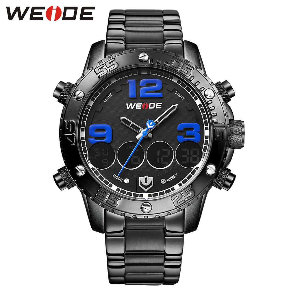 Luxury Brand WEIDE Men Watches Dual Display 30m Waterproof Full Staninless Steel LCD  Wristwatches Sale Items Relogio Masculino brand weide fashion casual men watch black silicone strap 3atm waterproof dual display wristwatch relogio masculino sale items