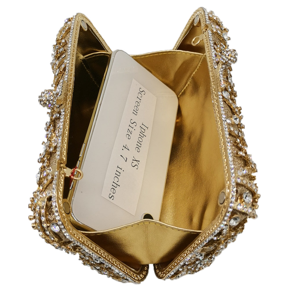 Image 4 - Boutique De FGG Hollow Out Flower Clutch Minaudiere Bag Women  Crystal Evening Bags Wedding Party Dinner Floral Handbags  PursesTop-Handle Bags
