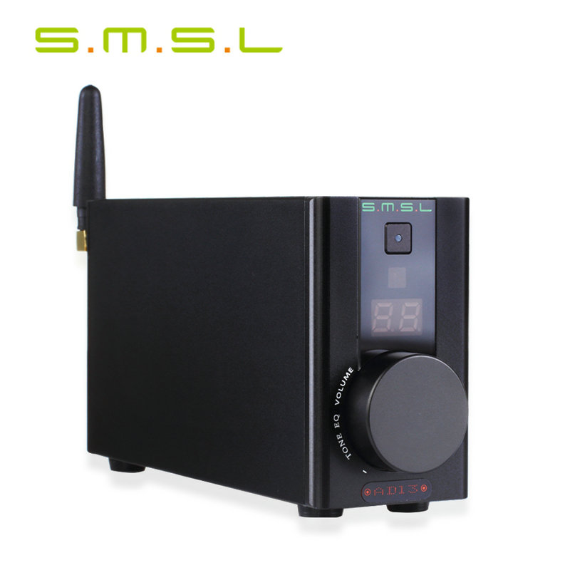 SMSL AD13 Bluetooth Pure Digital HIFI Amplifier 50W*2 USB Decoding Bluetooth 4.0 Power Amplifier with Remote Control Black name machine b 108 circuit no big loop negative feedback pure post amplifier hifi fever grade high power 12 tubes