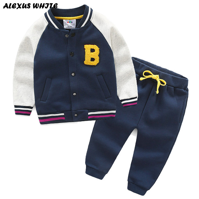 цены Girls Spring Autumn Boys Sport Suit Children Clothing Set Coat Pant Tracksuit Cotton Brand Baseball Jersey 3-8 T Kids 2cps Warm