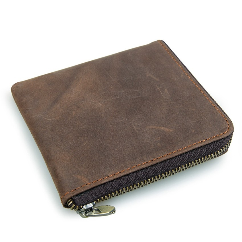 Vintage Genuine Leather Coin Pocket Unisex Wallet03