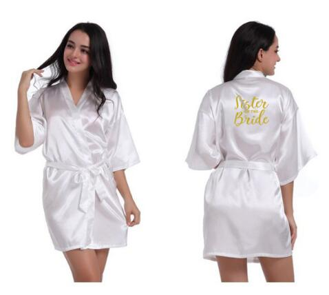 personalised robes sister of the bride Bridal Party Robes sister of the groom gold letters wedding gift plus size robe