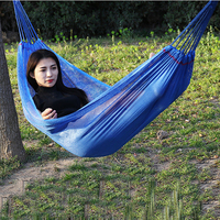 Six Colors Outdoor Camping Hammock Dormitory Bedroom Ice Silk Hammocks Breathable Swing with Tied Rope