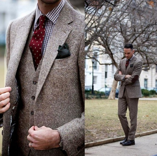 Vintage Winter Tweed Suits Brown Tweed Men Suits With Patch Design 3 Pieces Costume Homme Smart Business Formal Wedding Suits